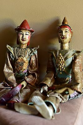 30 Inch Long Hand Painted Wooden Antique Burmese Warrior Marionettes (2)
