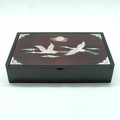 Trinket box inlaid with Mother of pearl storage box for pen and memo pads