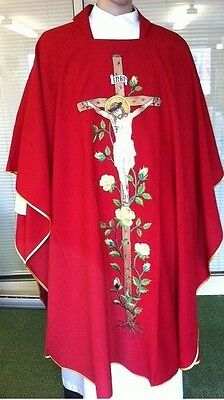 Priest Vestment - Brand New Red Chasuble with Crucifixion & rose design