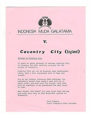 Indonesia Muda Galatama v Coventry City 1981  friendly