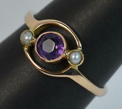 Art Nouveau Edwardian 9ct Rose Gold Amethyst & Seed Pearl Trilogy Ring t0958