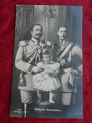 German Postcard-Three Generations-Kaiser Wilhelm II with his son and Grandson