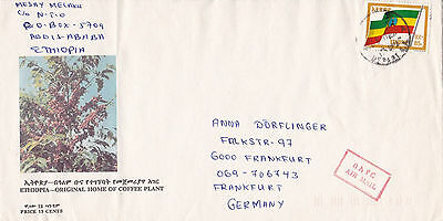 Ethiopia, Single rate Airmail letter to Germany. Coffeplant, National Flag. EF