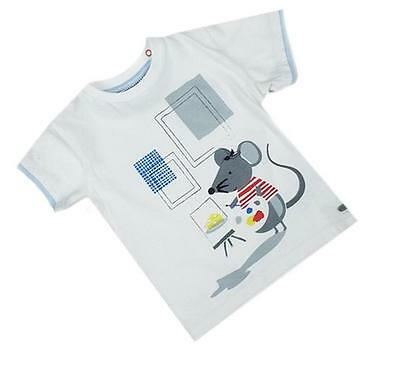 Nw Ex Autograph M&S Marks & Spencer White Artist Mouse Short Sl Top T-Shirt