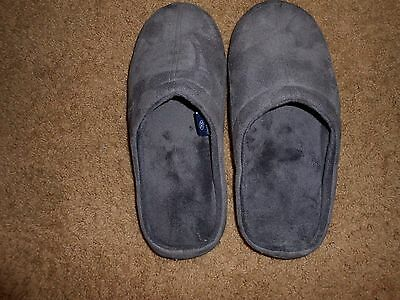 Stafford Memory Gray Slip On Slippers Men's Size 13-14 XXL Outdoor soles