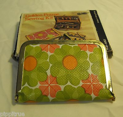 Vintage travel sew kit clutch Golden Frame sewing kit, unused, Made in Hong Kong