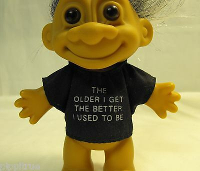 """TROLL c. RUSS 4 1/4"""" doll male """"The older I get the better I used to be"""" China"""