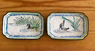 2 Fine Chinese Enamel Cloisonne  Tray Ducks Water Reeds Trays