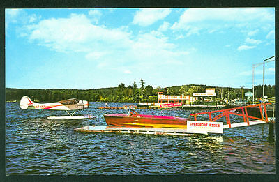 Speedboat and Seaplane Rides Sebago LONG LAKE MAINE ME Airplane Boat Postcard
