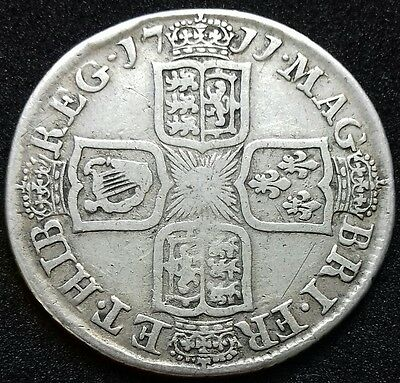 1711 Shilling. Queen Anne British Silver Coins