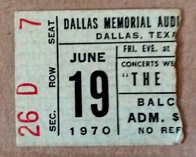 The Who - 2 x US Concert Ticket Stubs 1970 &1971. Dallas, Texas