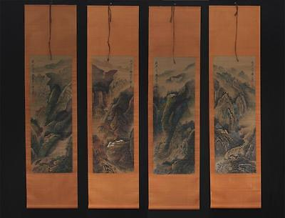 Fine Four Chinese Hand-painting Painthing Scroll Huangshanshou Marked s37