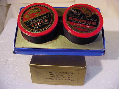 """Vintage 1940's New In Pk, Hall's Celebrated""""HIGHLAND LAKE""""15lb Silk Casting Line"""