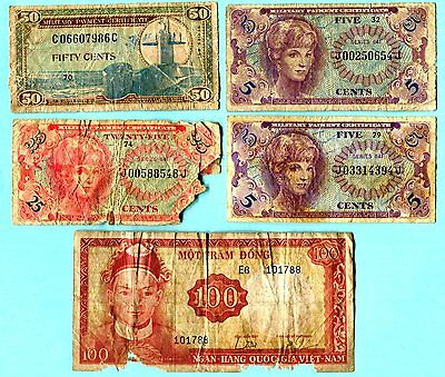 Five piece mixed lot of 4 MPC's and one South Vietnamese currency. All low grade