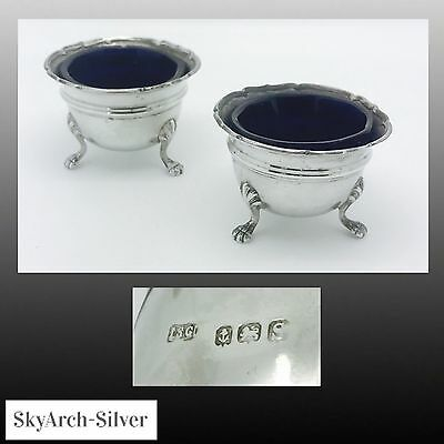 SOLID SILVER Salt Pots Cellars PAIR Hallmarked Birmingham 1927 I S GREENBERG