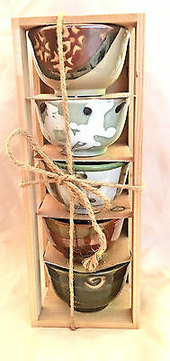 New Wooden Crate of 5 Assorted Porcelain Hand Painted Sake Cups~Microwave Safe