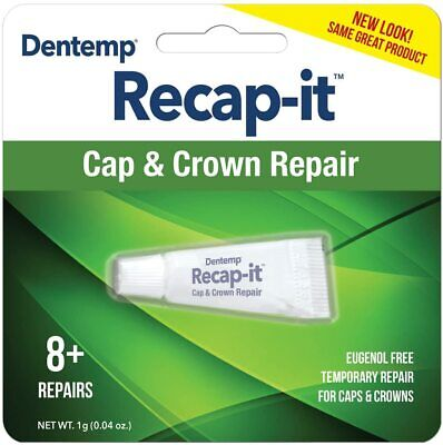 DENTEMP RECAPIT REPAIR LOOSE CAPS.  NO MIX DENTAL CEMENT 1g. UK Pharmacy.