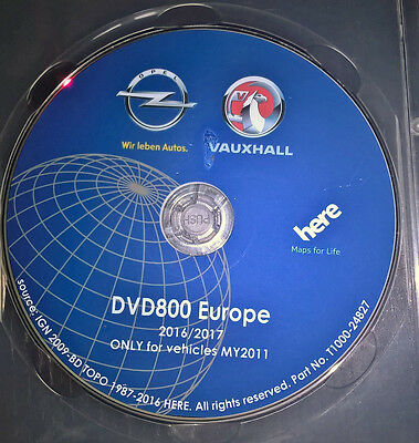 2016/2017 Vauxhall/Opel DVD800 CD500 MY2011 DVD sat nav map update disc