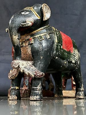 Vintage Indian Wooden Toys. Highly Decorative Teak Elephant. Rajasthan.