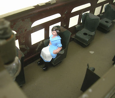 Seated Woman train passenger figure, Lionel Parlor Car, Reproduction Johillco