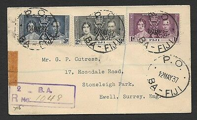 (111cents) Fiji 1937 Coronation Registered FDC used B.A to England