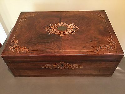 19 C Rosewood & Satinwood Inlaid Lap Desk Traveling Writing Box Orig 2 Ink Wells