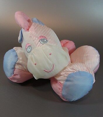 "Vintage Fisher Price Puffalumps Sleepytime Pony zebra 7"" Plush Stuffed Animal"
