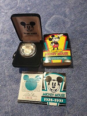 Rare collectible Mickey Mouse .999 fine silver coin from 1993