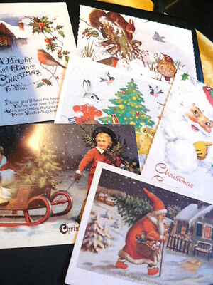 6 Lot Collection Christmas Greetings Postcards Robin Santa Claus Farrahs Toffee