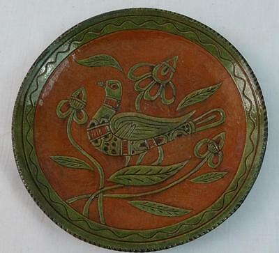 Mary Spellman Shooner Redware Decorated Plate Green w/ Green Bird 2014 Signed