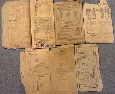Lot of 7 Antique/Vintage Lady's Sewing Patterns~Early 1900's