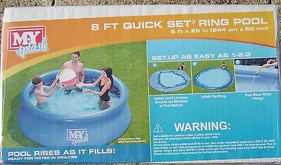 QUICK EASY FAST SET UP 8FT LARGE Family/Childrens Paddling SWIMMING GARDEN POOL