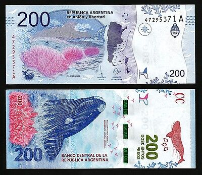 Argentina 200 Pesos 2016 Unc P.new , Southern Right Whale , Prefix A