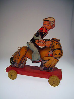 """GSCOM  """" POPEYE on HORSE""""  FISHER-PRICE ca. 1930s, 22 cm, HOLZ/WOOD/TIN, GOOD !"""
