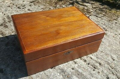 antique writing slope wooden box with inkwell