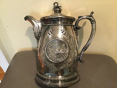 Rare 1854 Museum Quality Silverplate W Pitcher Reed & Barton Bear Hunting Scene