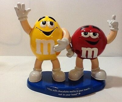 "Collectible M & M Candy Dispenser Red & Yellow 10"" Tall M&M Machine"