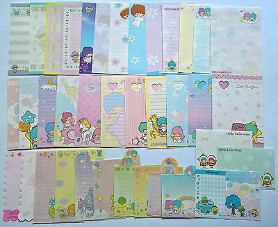 Little Twin Stars Kawaii Memo Note Stationery Sanrio Lot of 38 Sheets