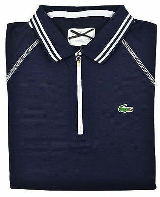 0ef35821079a7 Lacoste Sport NWD Womens Navy Blue Contrast Stitch Zip Up Polo Shirt Top Sz  6 38