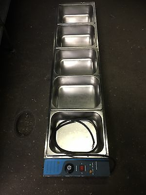 Single Phrase Electric Bain marie 5 Stainless Steel Containers & Lids Included