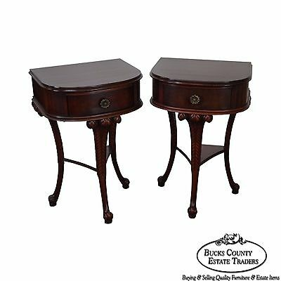 Mahogany Demilune Pair 1 Drawer Plume Base Regency Style Nightstands
