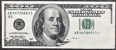 100 Dollar Bill Note 1996 Error Fold Over + Partly Double Print VERY RARE 5168