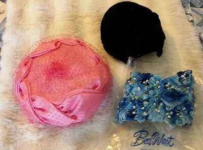 3 Hats - Vintage Bea West Blue Flowers, New Union-made Pink & Veil, Black Velvet