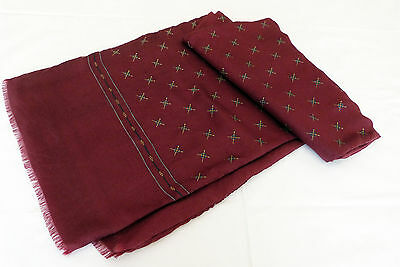 "Men's Reversible Pure Silk & Wool Burgundy Fringed Scarf 50"" Oblong"