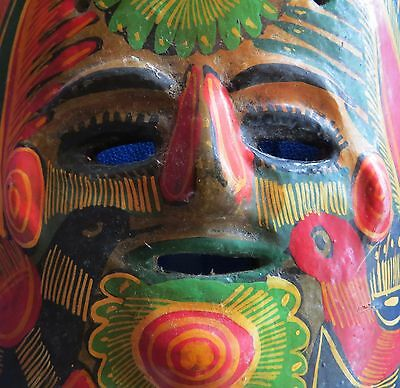 """Vintage Mexico Mexican Mayo Ritual Mask Pottery Hand Painted 6.5"""" X 7.75"""" GC FS"""