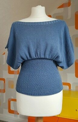 Vintage Retro 1970s 1980s Blue Knitted Ladies Top Size 12 M