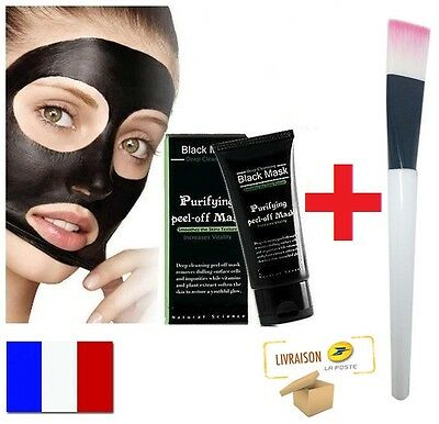 Masque Anti Acné points noirs Black Mask Charbon Soin Visage acne Pinceau Offert