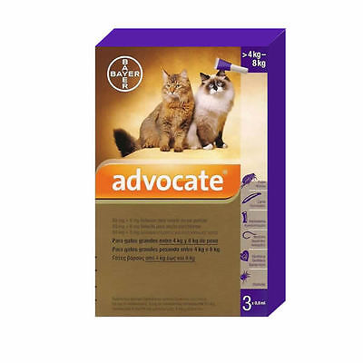 Advocate Gatos / Cats /Katze (4 - 8 kg), 3 Spot-On pipetas