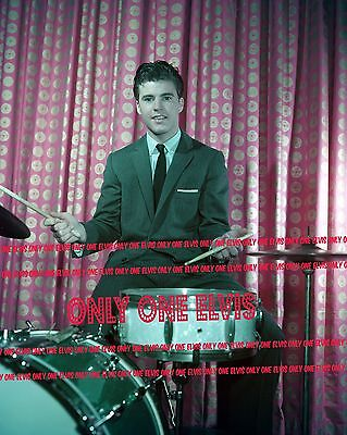 1960 RICKY NELSON Photo Teen Idol in suit Playing DRUMS