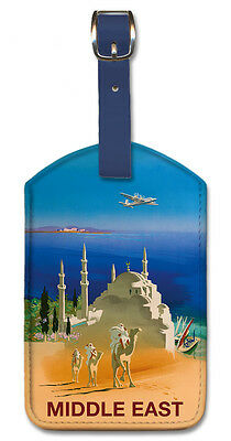 Leatherette Travel Luggage Tag Baggage Label - Middle East by Jean Even